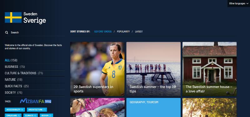 سایت رسمی کشور سوئد ساخته شده با وردپرس